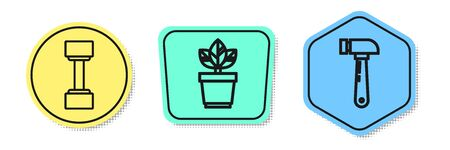 Set line Dumbbell, Flowers in pot and Hammer. Colored shapes. Vector Illusztráció