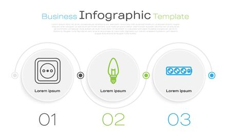 Set line Electrical outlet, Light bulb and Electric extension cord. Business infographic template. Vector