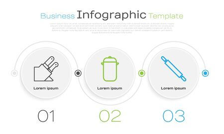 Set line Knife, Cooking pot and Rolling pin. Business infographic template. Vector