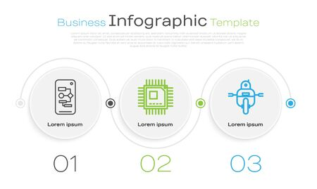 Set line Algorithm, Processor with microcircuits CPU and Robot. Business infographic template. Vector