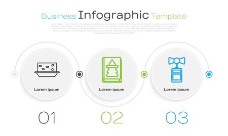 Set line Nougat with nuts, Christmas book and Price tag with an inscription Sale. Business infographic template. Vector