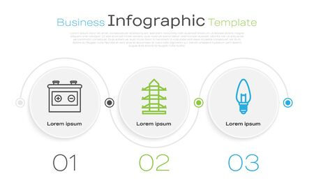 Set line Car battery, High voltage power pole line and Light bulb. Business infographic template. Vector