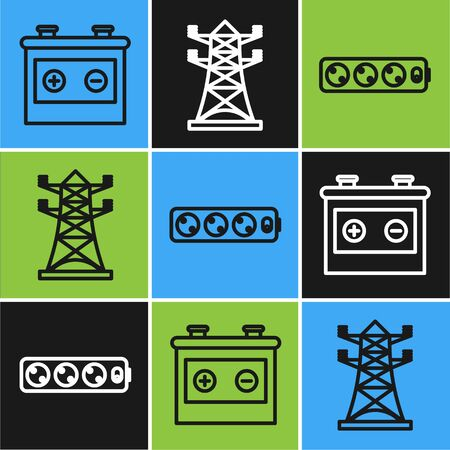 Set line Car battery, Electric extension cord and High voltage power pole line icon. Vector