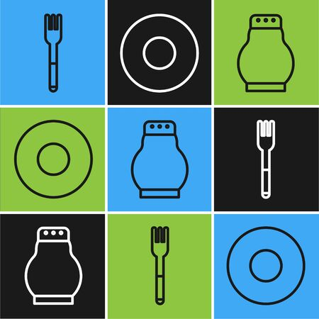 Set line Fork, Salt and pepper and Plate icon. Vector