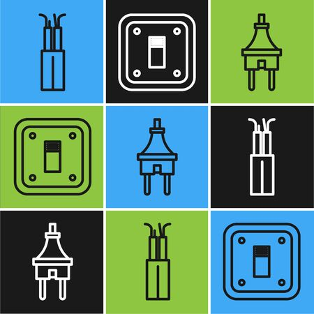Set line Electric cable, Electric plug and Electric light switch icon. Vector