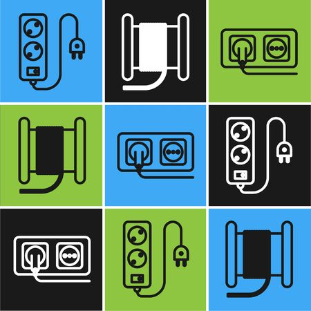 Set line Electric extension cord, Electrical outlet and Wire electric cable on a reel or drum icon. Vector