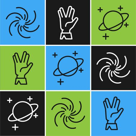 Set line Black hole, Planet and Vulcan salute icon. Vector