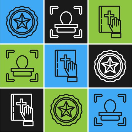 Set line Police badge, Oath on the Holy Bible and Face recognition icon. Vector