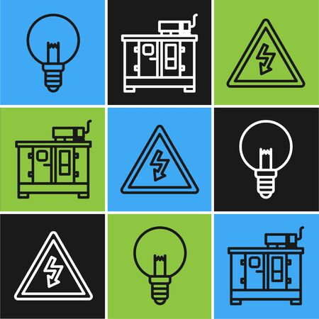 Set line Light bulb, High voltage sign and Diesel power generator icon. Vector