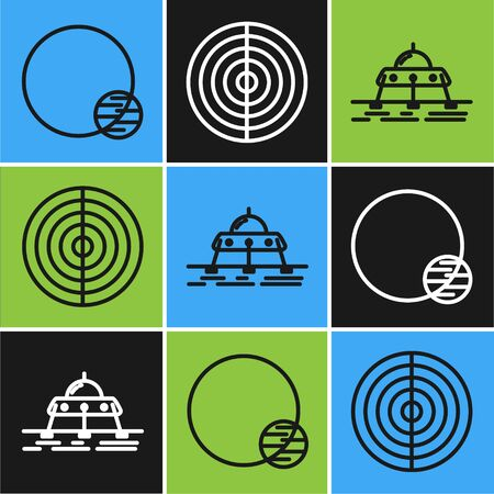 Set line Planet, Mars Earth structure icon. Vector