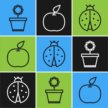 Set line Flower in pot, Ladybug and Apple icon. Vector Illusztráció