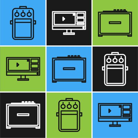 Set line Guitar pedal, Guitar amplifier and Video recorder or editor software on monitor icon. Vector Vector Illustration