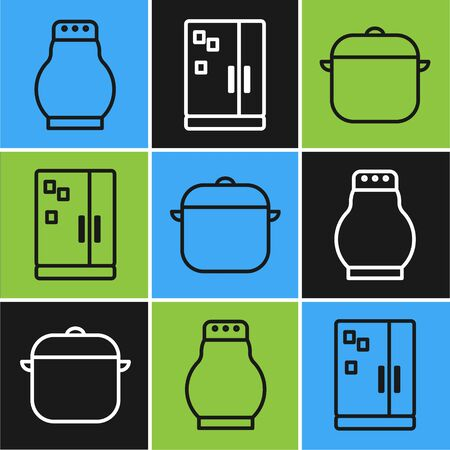 Set line Salt and pepper, Cooking pot and Refrigerator icon. Vector Illustration