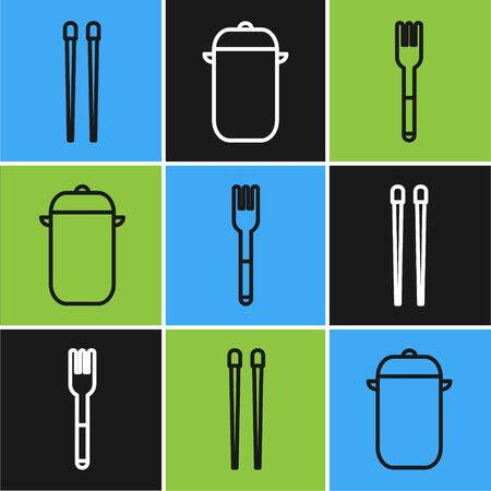 Set line Food chopsticks, Fork and Cooking pot icon. Vector