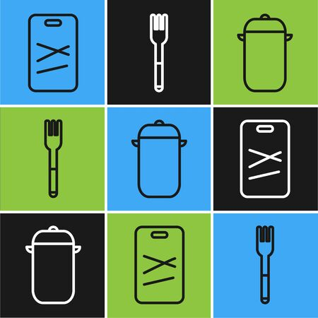 Set line Cutting board, Cooking pot and Fork icon. Vector