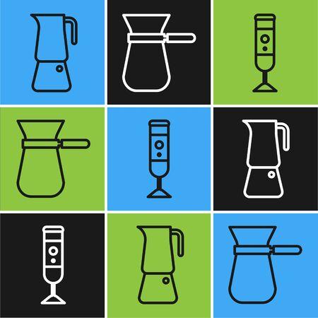Set line Moka pot, Blender and Coffee turk icon. Vector Vettoriali