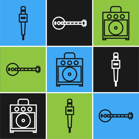 Set line Microphone, Guitar amplifier and Banjo icon. Vector