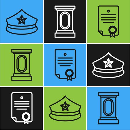 Set line Police cap with cockade, Certificate template and Stage stand or debate podium rostrum icon. Vector