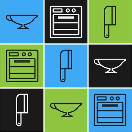 Set line Sauce boat, Meat chopper and Oven icon. Vector
