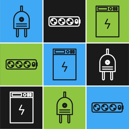 Set line Electric plug, Power bank and Electric extension cord icon. Vector Vecteurs
