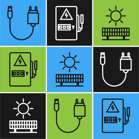 Set line Charger, Solar energy panel and sun and Electrical panel icon. Vector