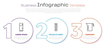 Set line Refrigerator, Food chopsticks and Measuring cup. Business infographic template. Vector