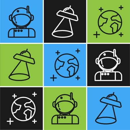 Set line Astronaut, Earth globe and UFO flying spaceship icon. Vector