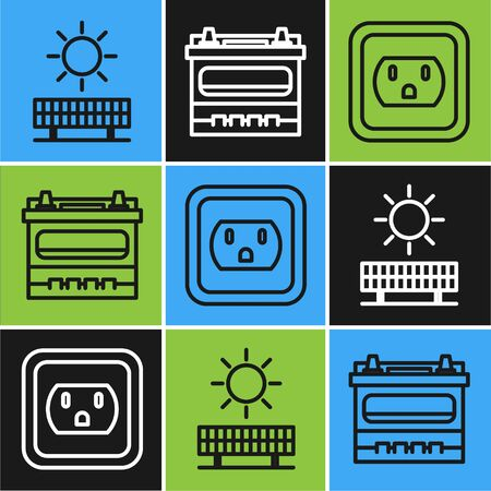 Set line Solar energy panel and sun, Electrical outlet in the USA and Car battery icon. Vector