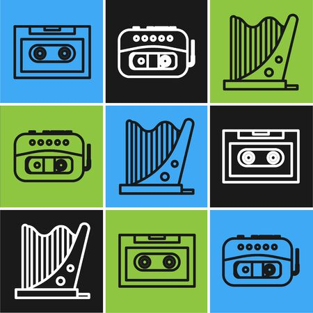 Set line Retro audio cassette tape, Harp and Music tape player icon. Vector