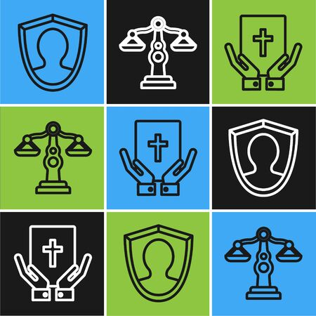 Set line User protection, Oath on the Holy Bible and Scales of justice icon. Vector