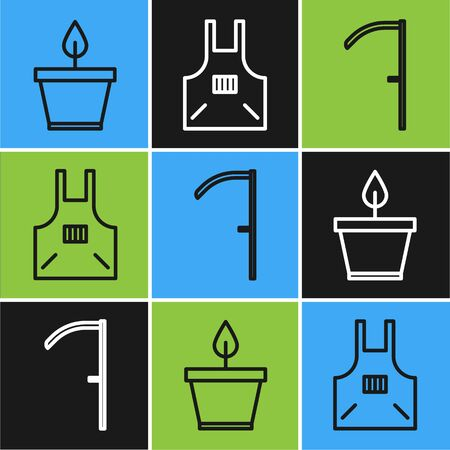 Set line Plant in pot, Scythe and Kitchen apron icon. Vector