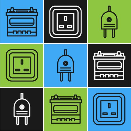Set line Car battery, Electric plug and Electrical outlet icon. Vector