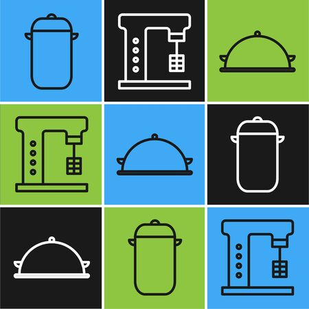 Set line Cooking pot, Covered with a tray of food and Electric mixer icon. Vector