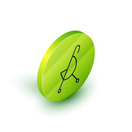 Ligne isométrique Icône de poussette bébé isolé sur fond blanc. Landau, poussette, landau, poussette, roue. Bouton cercle vert. Illustration vectorielle
