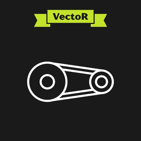 White line Timing belt kit icon isolated on black background. Vector Illustration Ilustração