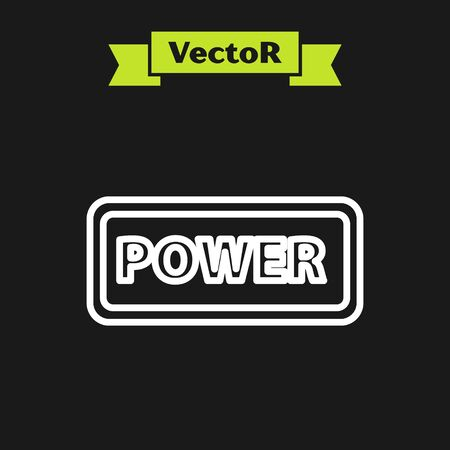 White line Power button icon isolated on black background. Start sign. Vector Illustration