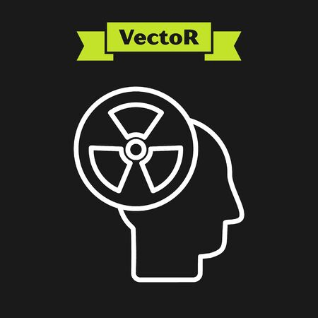 White line Silhouette of a human head and a radiation symbol icon isolated on black background. Vector Illustration
