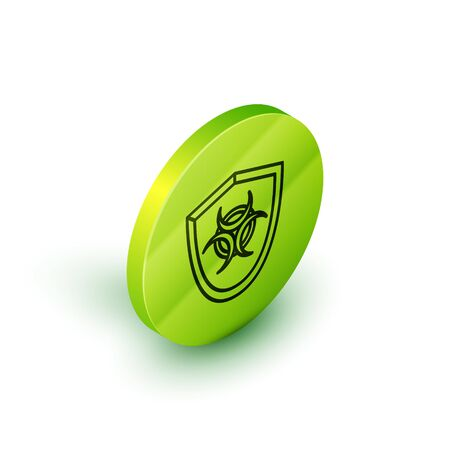 Isometric line Biohazard symbol on shield icon isolated on white background. Green circle button. Vector Illustration Vectores