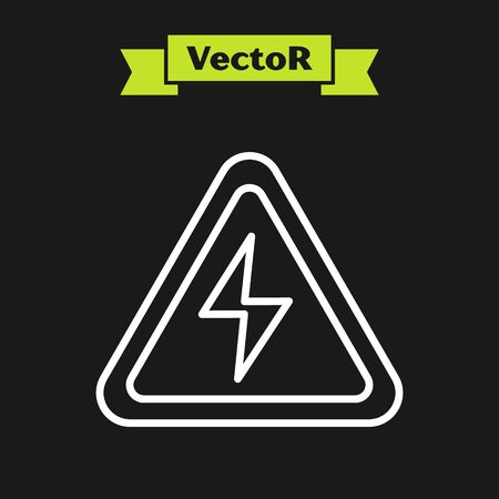 White line High voltage sign icon isolated on black background. Danger symbol. Arrow in triangle. Warning icon. Vector Illustration Vectores