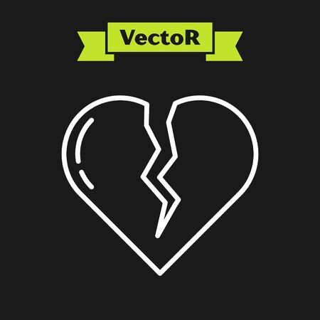 White line Broken heart or divorce icon isolated on black background. Love symbol. Valentines day. Vector Illustration Иллюстрация