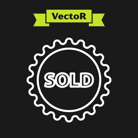 White line Sold label icon isolated on black background. Vector Illustration
