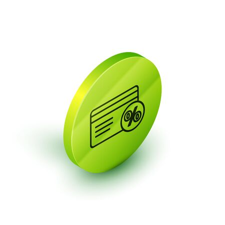 Isometric line Discount card with percent icon isolated on white background. Loyalty points card. Green circle button. Vector Illustration
