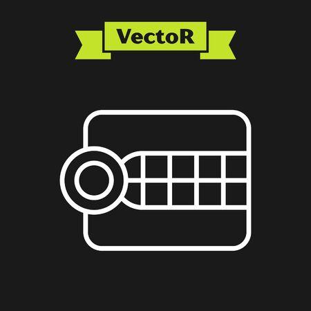 White line Dentures model icon isolated on black background. Dental concept. Vector Illustration