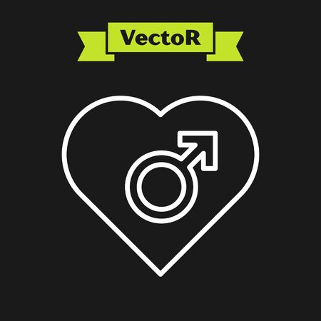 White line Heart with male gender symbol icon isolated on black background. Vector Illustration