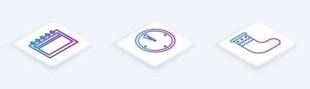 Set Isometric line Calendar, Clock and Christmas stocking. White square button. Vector Illustration