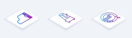 Set Isometric line Grand piano, Metronome with pendulum in motion and Music CD player. White square button. Vector Illustration