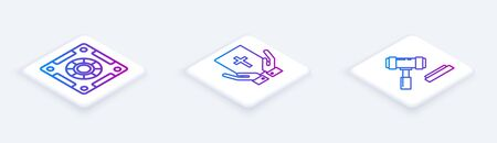 Set Isometric line Safe, Oath on the Holy Bible and Judge gavel. White square button. Vector