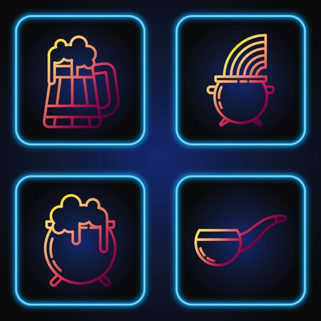Set line Smoking pipe, Witch cauldron, Wooden beer mug and Witch cauldron and rainbow. Gradient color icons. Vector