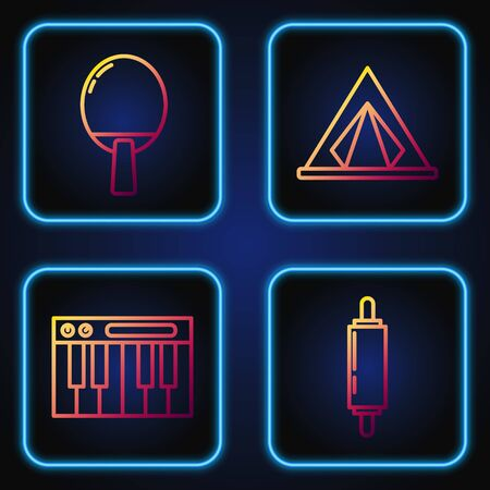 Set line Rolling pin, Music synthesizer, Racket for playing table tennis and Tourist tent. Gradient color icons. Vector Vectores