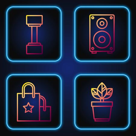Set line Flowers in pot, Paper shopping bag, Dumbbell and Stereo speaker. Gradient color icons. Vector